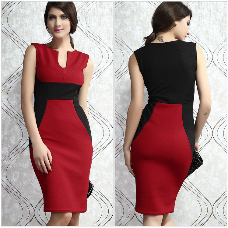 2015 Women Career Elegant Work Wear Office Black Red White ...