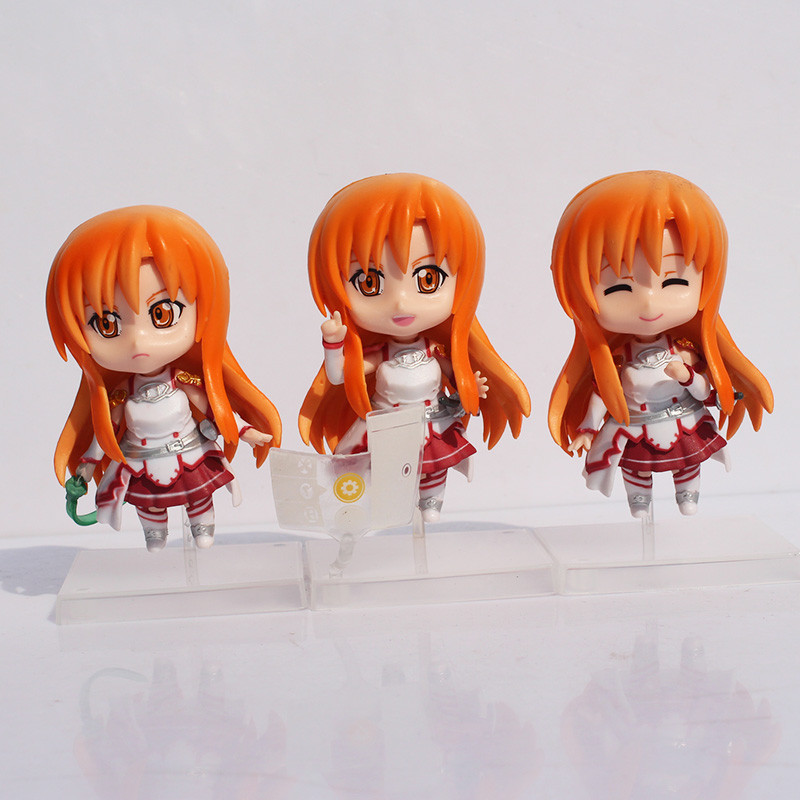 5sets/lot Free Shipping 9.5cm Q Version Sword Art Online Asuna PVC Action Figure Toy Collection Model Dolls<br><br>Aliexpress
