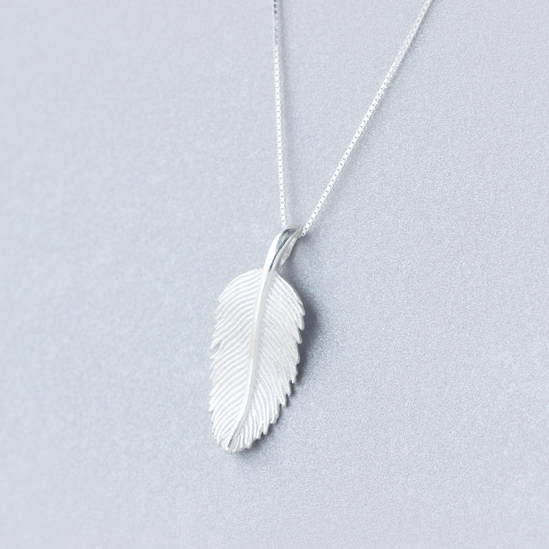 Funky Real. 925 Sterling Silver Bird Feather Pendant Angel Wing Big Drop Necklace Animal Charm gtlx610(China (Mainland))