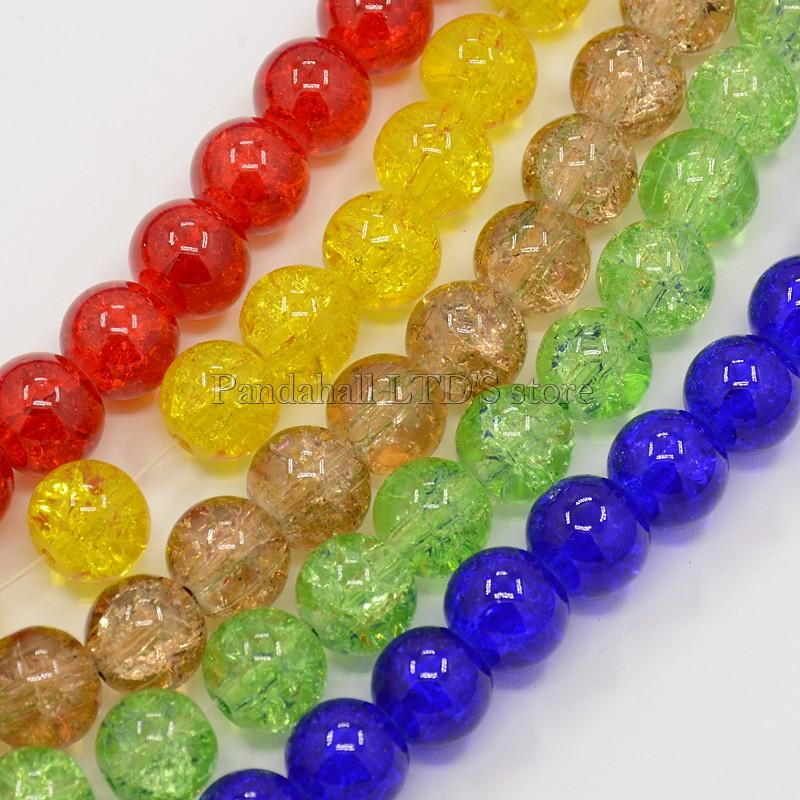Crackle Glass Beads Strands, Round, Mixed Color, 8mm; Hole: 1.3~1.6mm; 100pcs/strand, 31.4 inch - PandaHall LTD's store