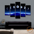 Modern Canvas Wall Painting 5 Piece Blue Night Sky Moon Picture Night Landscape Painting in Living