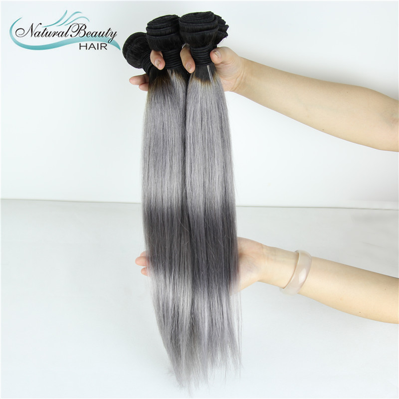 HOT Sale Silver Grey Ombre Human Hair Extensions 3 Pcs 1B Grey Straight Hair Two Tone Ombre Brazilian Virgin Hair Grey Weave<br><br>Aliexpress