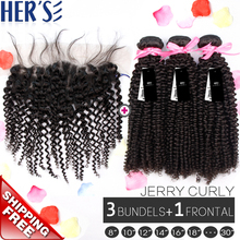 Human Virgin Indian Curly Hair Weave 3 Bundles With Lace Frontal Closure 13×4,Grade 7A Lace Frontal With Bundles,Bleached Knots