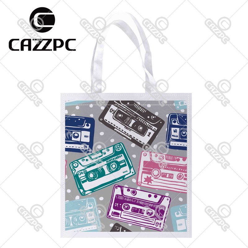 Cartoon Colorful Vector Old Audio tape Cassete Print Individual Lightweight Polyester Fabric Reusable Grocery Bag Pack of 4(China (Mainland))