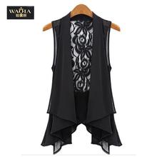 Plus Size Lace Vest 2015 New Arrival Fashion Chiffon Long Outwear Vest Hot-sale Women Tops Black/White(China (Mainland))