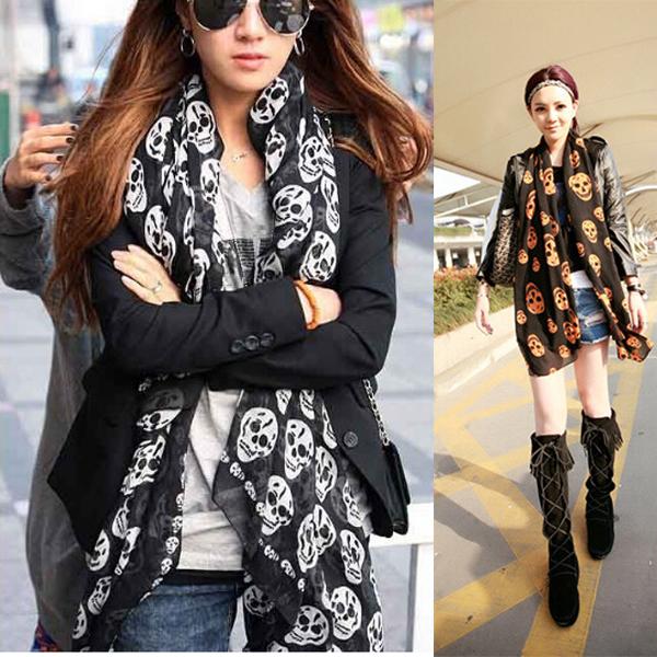 2016 новинка женщин мыс платок шарф черепа зима шифон шарфы шали обруча S6