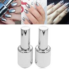 2 Bottles 15ml Silver Mirror Effect Metal Nail Polish Varnish Top Coat Metallic Nails Art Tips DIY Manicure Design Tools DIY Set(China (Mainland))