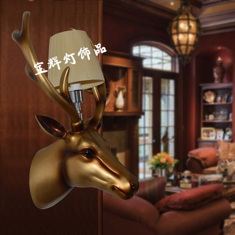 Factory wholesale carving deer glass wall lamp living room balcony bar wall lamp 40W E14 led wall lamp lampada led 110v(China (Mainland))