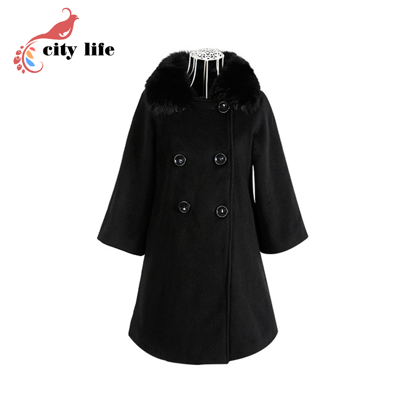 Plus Size S-5xl Double Breasted Blends Coats Woman Nature Fox Fur Collar Wool Overcoat Doudoune Femme Одежда и ак�е��уары<br><br><br>Aliexpress