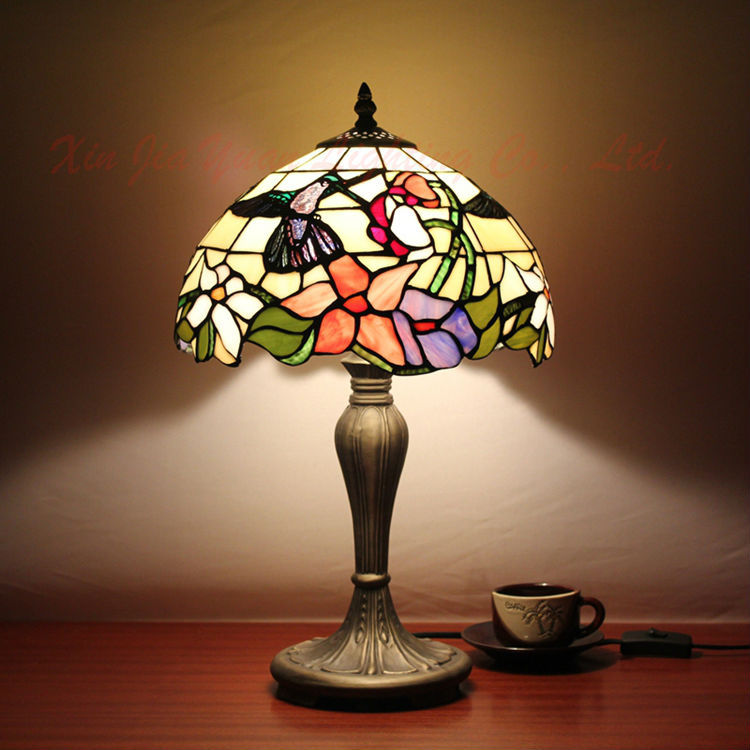 Antique Stained Glass Modern Table Lamp Tiffany Style Lustre Handmade Lampshade Retro Bedroom Bedside Desk Light Fixtures - Broadway Lighting store