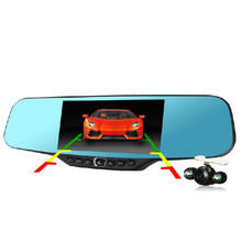 Newest 4.3 inch Full HD 1080P Car Rearview Mirror DVR Car Camera Parking Night Vision Car DVR Dual Camera Video Recorder(China (Mainland))