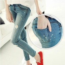 Girls splash-ink hole jeans women's autumn light color slim skinny pants pencil pants fashion denim pants women