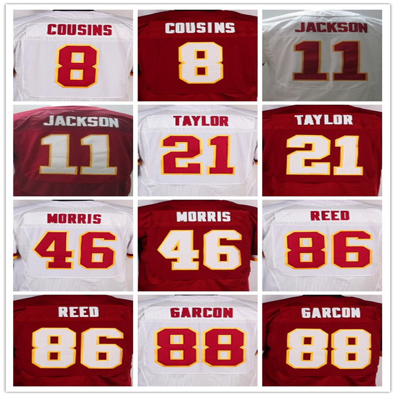 Best quality jersey,Men's 8 Kirk Cousins 86 Jordan Reed 24 Josh Norman 21 Sean Taylor elite jerseys,White and Red,Size 40-56(China (Mainland))