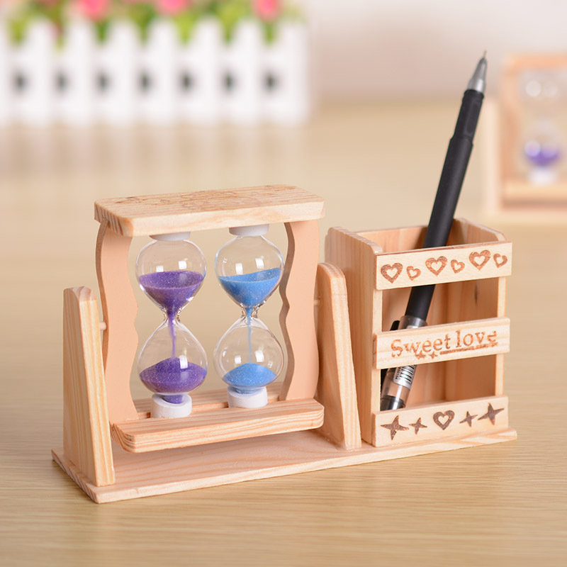 2014 Hourglass quicksand wooden Pen case collection handmade windmill students birthday gift Christmas G0012 - GREEN SHINE STORE store