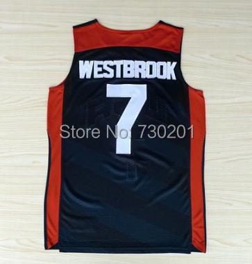 #7 راسل وستبروك جيرسي ، حلم فريق حجية جيرسي ، usa 2012 الألعاب الأولمبية لكرة السلة جيرسي ، وأفضل نوعية ، حجم S--XXXL(China (Mainland))