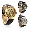 Mens Luxury Mechanical Skeleton Watch Hand Wind Up Leather Strap Wristwatch