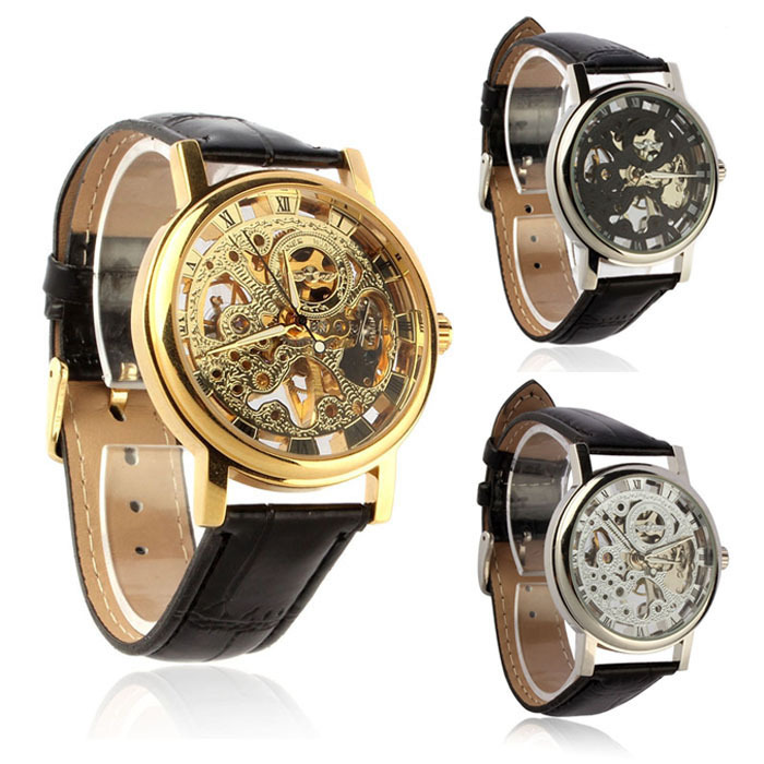Mens Luxury Mechanical Skeleton Watch Hand Wind Up Leather Strap Wristwatch(China (Mainland))