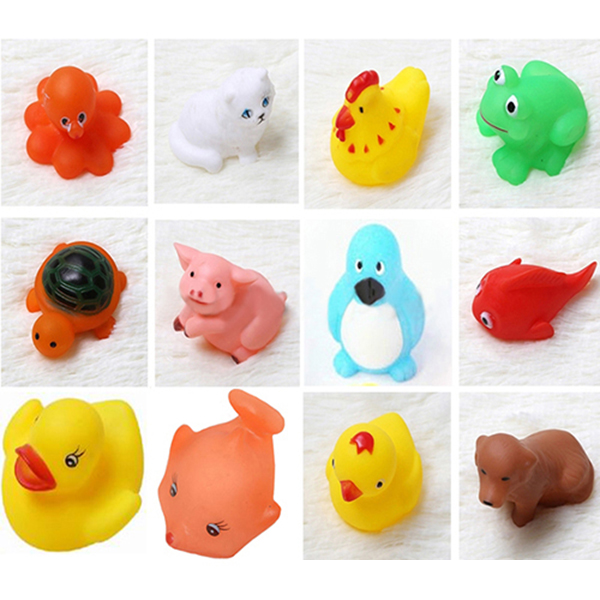 Packaging Sale 13pcs/lot Kids Baby Bath Time Toys Squeeze Sound Wash Bath Swimming Soft Classic Bath Toys(China (Mainland))