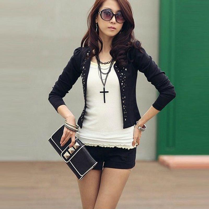 2015 New Autumn Fashion Women s Black Short Leisure Suit Jacket Diamonds Rivet Elegant Slim Suit
