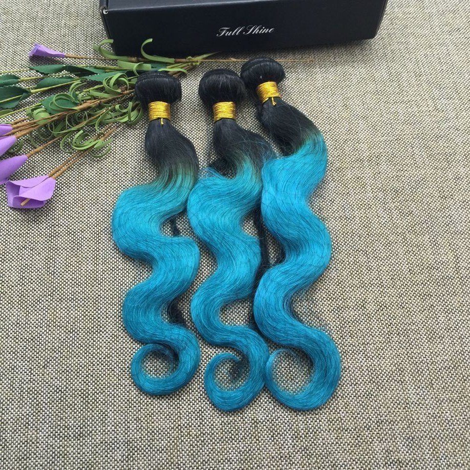 Full Shine 3 Bundles Brazilian Body Wave 100 Human Hair Sew in Extensions 1B#teal Color Weave Hair Mix Length 50g Per Pac