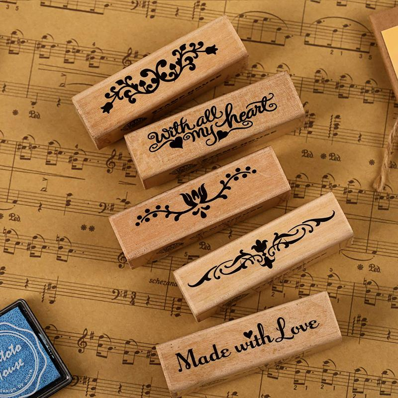 5 pcs/lot DIY New Vintage Retro Wooden Romantic Lace Flower Stamp for Home Decoration Scrapbooking Free Stationery shipping 225<br><br>Aliexpress