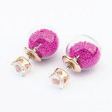 2016 Europe all-match New Transparent Crystal Glass Ball Personality Small Beads Hollow Geometric Birthday Gift Stud Earrings(China (Mainland))