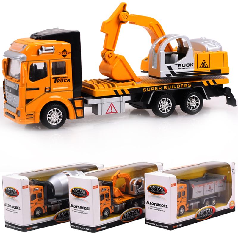 New Pull Back Model Car Excavator Transport Truck Asphalt Stirrer Alloy Metal Plastic Toy Cars Children Kids Gift for Boys(China (Mainland))