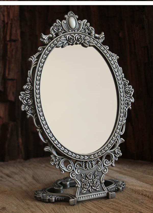 2X magnifying vintage double-face folding table desktop retro metal makeup cosmetic mirror embossed rose small 335S(China (Mainland))