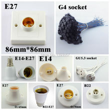 20pcs/lot E27 E14 B22 G4 Lamp Base Holder, B15 B14 Lamp Socket, GU5.3 MR16 Bulb Adapter(China (Mainland))