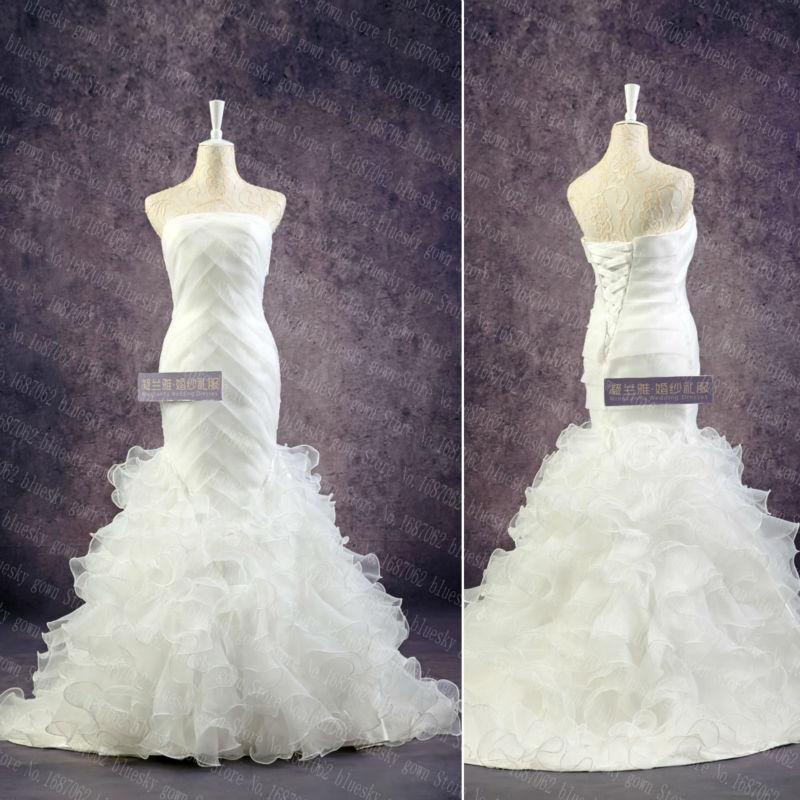 Real photos 2015 mermaid wedding dresses luxury tulle for True mermaid wedding dresses
