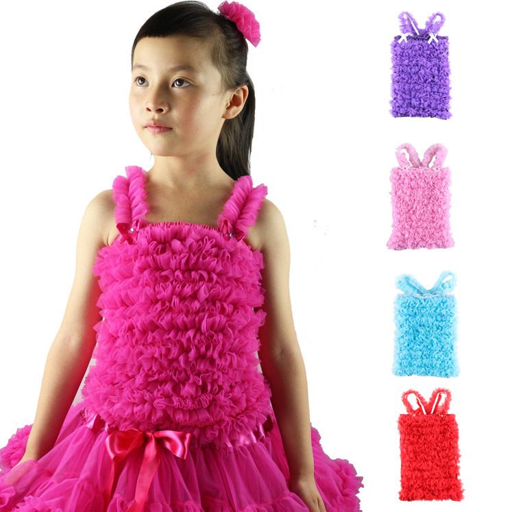Wennikids hot sale Little princess girl's solid color pettitop chiffon petti tops/ tank matching to pettiskirt, kids Soft Tees(China (Mainland))