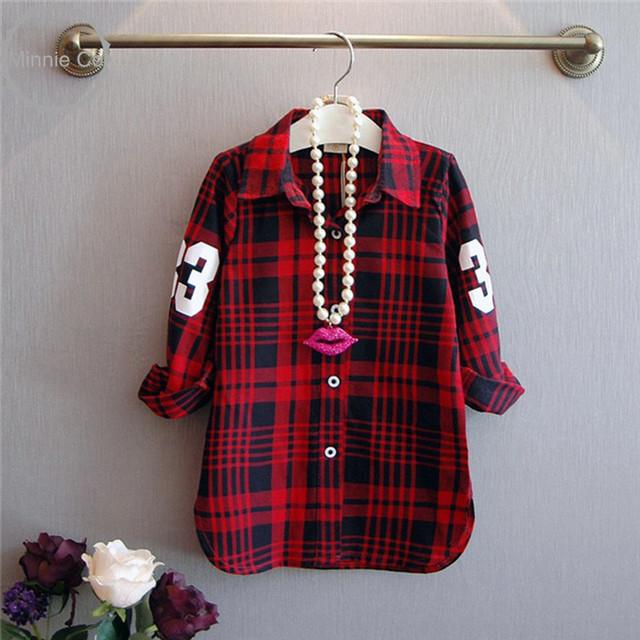 Girla блузка Весна осень Рубашка в Полоску Плед Блузка девочка одежда девушки лучших блузки красный клетчатую рубашку блузка детская одежда