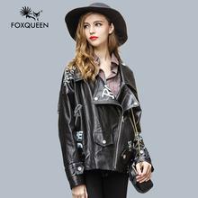Foxqueen 2016 Новых Кожаная Куртка Женщин Короткие Мода Повседневная Пальто Черный Топ Мода Новые Плюс Бесплатная Доставка(China (Mainland))