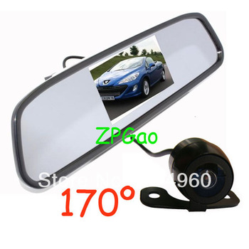 "4.3"" Car LCD Mirror Monitor Kit + Mini Waterproof Car Reversing Camera 170 degree with 5M cable Free Shipping"