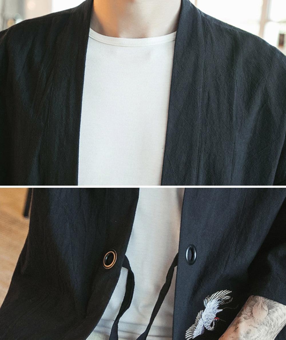 664fb779f Embroidery Men Japanese Yukata Coat Jacket Kimono Outwear Cotton ...