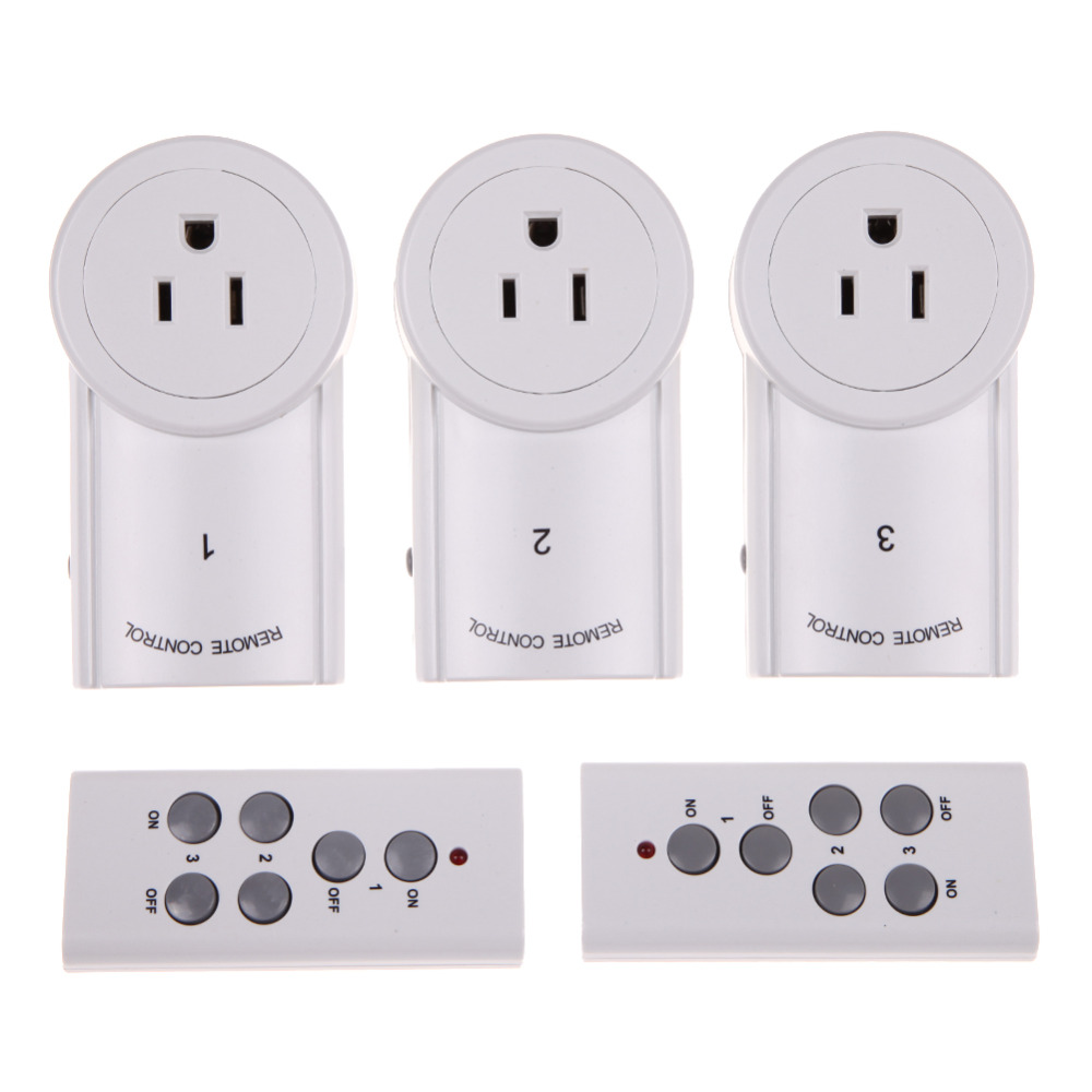 3-Pack Wireless Remote Control Power Outlet US Plug Socket Switch Set for Lamps Household Appliance 120V +2pcs Remotes(China (Mainland))