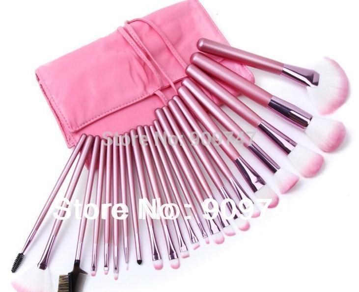 2013 חדש !! מקצועי 24 איפור מברשת סט כלים איפור ערכת מוצרי טיפוח צמר מותג איפור מברשת סט תיק משלוח חינם