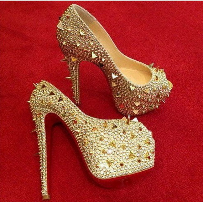 Newest 2015 Red Bottom Platform Pumps 160MM Red Sole Peep Toe Rivets Sandals Women Gold Studded Shoe Spikes Crystal Heels(China (Mainland))