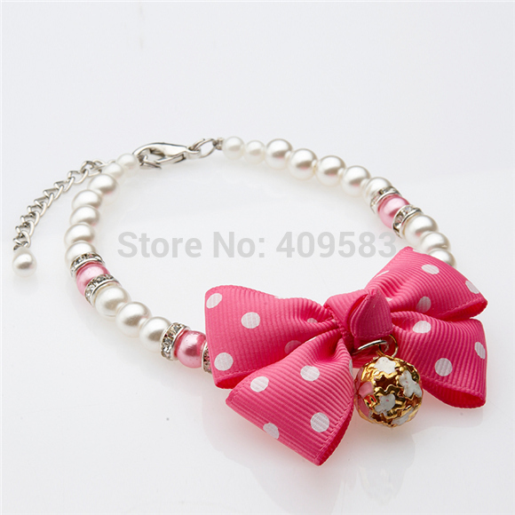 New Hot Sale Pet Necklace Retractable Pearl Rhinestone Bell Bows Pet Collar Goods For Puppy Animals Cats Chihuahua Yorkshire(China (Mainland))