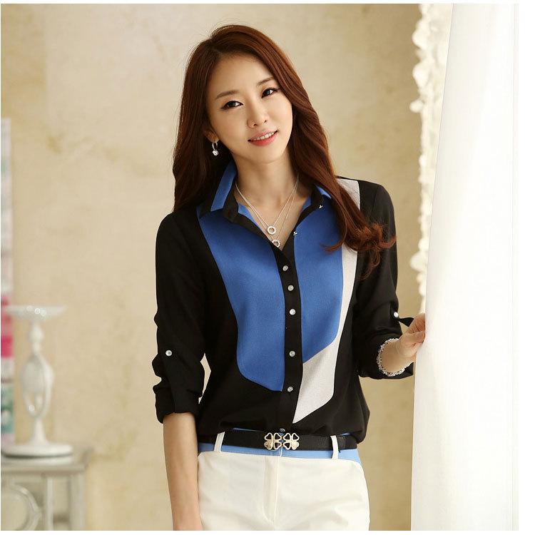 Casual Blouse Shirt Plus Size Camisas Femininas Women Blue & Black Clothing Blusas Roupas Classical Chiffon Shirt Tee Top 5074(China (Mainland))