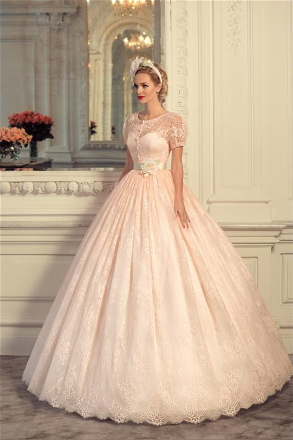 Pink Wedding Dresses Princess : Pink lace ball gown princess wedding dresses sashes bridal gowns