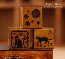 DIY Vintage Retro Wooden Stamp Old Ancient Cat Lace House Dog Rubber Stamps for Decor Scrapbooking Ink Pads(China (Mainland))