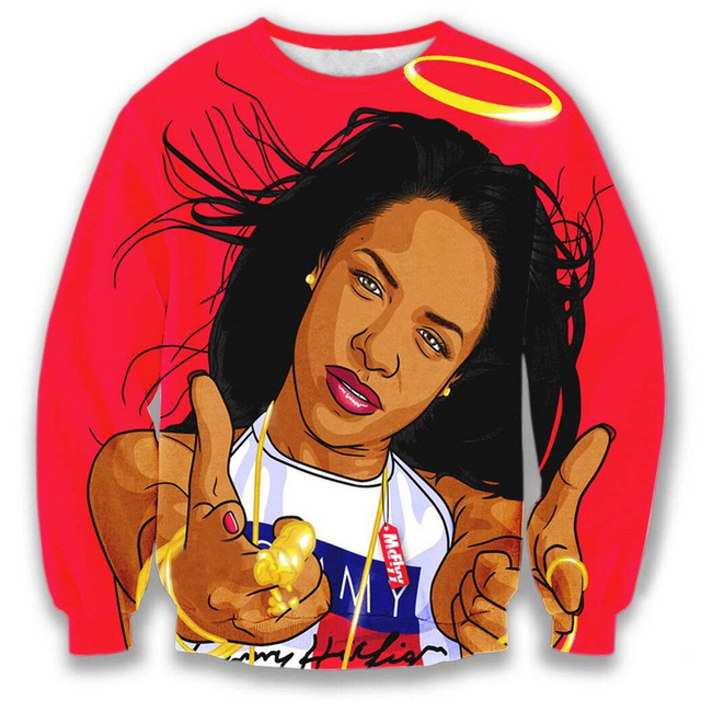 Harajuku стиль Aaliyah Babygirl 3D толстовка 3D женщины / мужчины осень свободного ...
