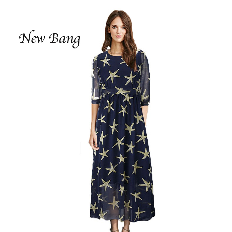 2016 New Women Maxi Dress Half Sleeve Loose Vestidos Blue Long Dresses Beach Holiday Plus Size 5XL 6XL(China (Mainland))