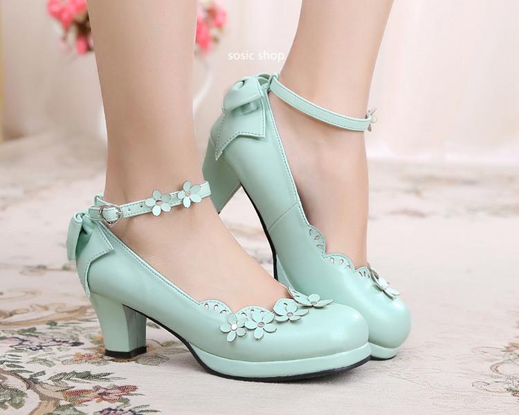 New female women lolita mori girls Pumps uniform shoes lolita princess student preppy Soft petals bow cosplay lolita shoes(China (Mainland))
