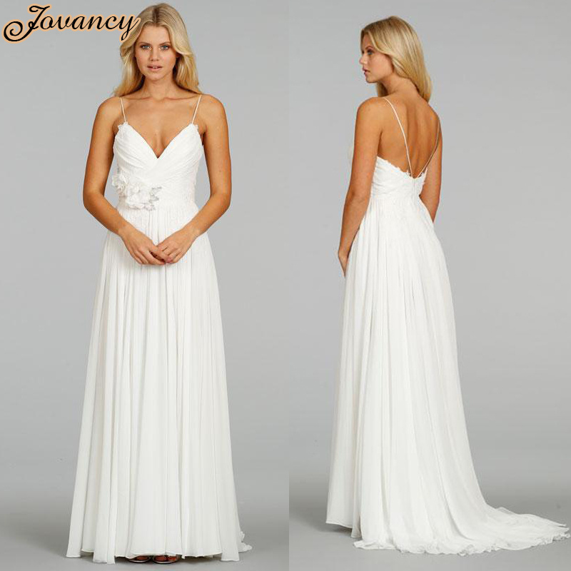 Elegant Sweetheart Spaghetti Strap Wedding Guest Dresses Applique Chiffon A Line Ivory Long
