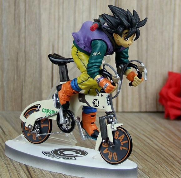 Anime Dragon Ball Z Super Saiyan goku cycling PVC Action Figures Collection Model Toys Doll 23cm Free Shipping(China (Mainland))
