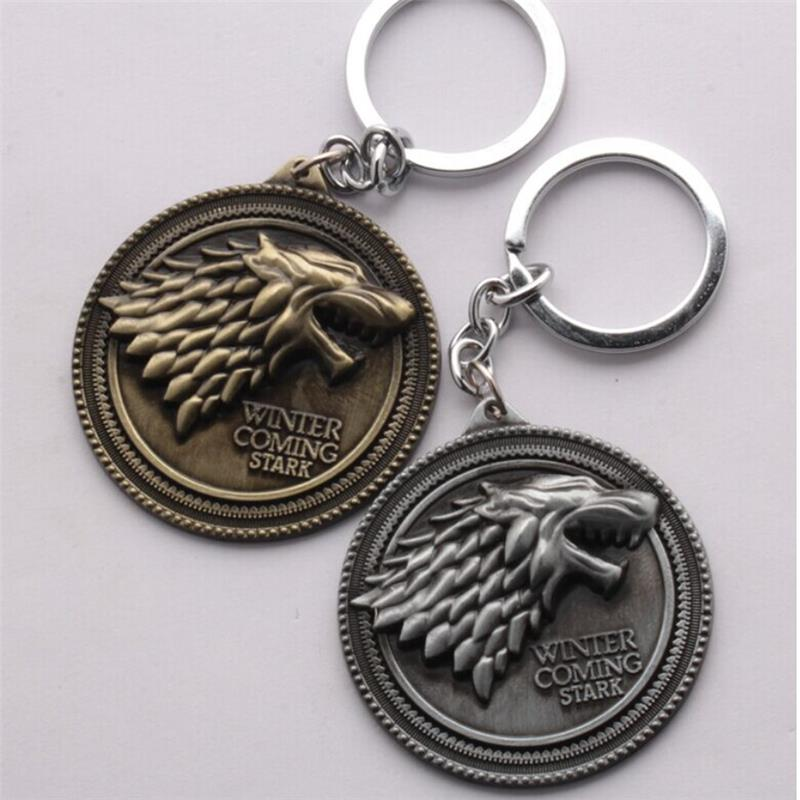 TOYS PENDANT GAME OF THRONES SHIELD ROUND COIN METAL A SONG OF LCE AND FIRE MOVIE PRODUCT KEYCHAIN KEY RING