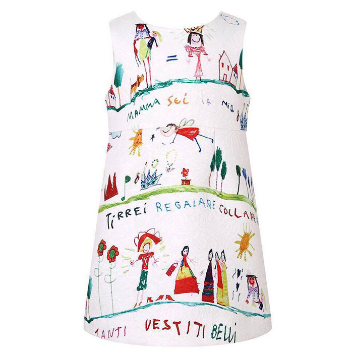 2016 Spring Girls Dress Kids Clothes Brand Cartoon jacquard graffiti Home Holiday party clothes roupas bebe Toddler vestido<br><br>Aliexpress