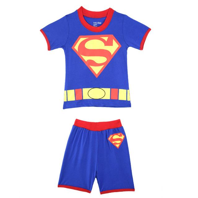 Супермен мальчики-младенцы девочки пижамы комплект хлопок дети лето одежда комплект свободного покроя комикс дети пижама костюм CF207